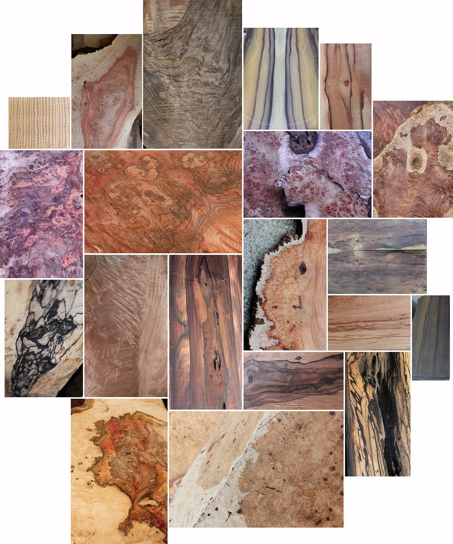 Assemblage-bois-ébène-palissandre-érable-etc