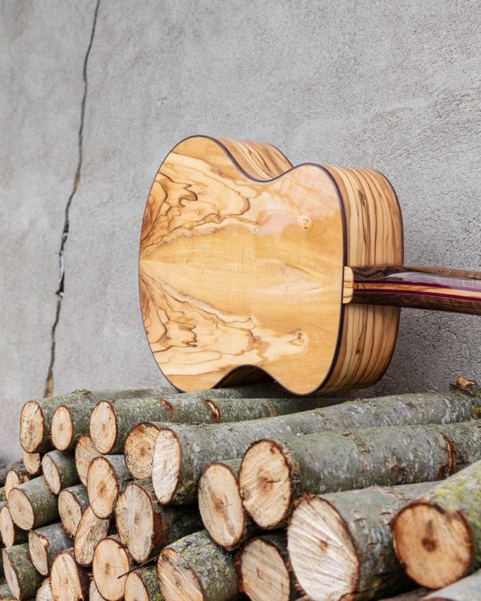 Guitare acoustique - Guitare folk - Vue du dos en olivier