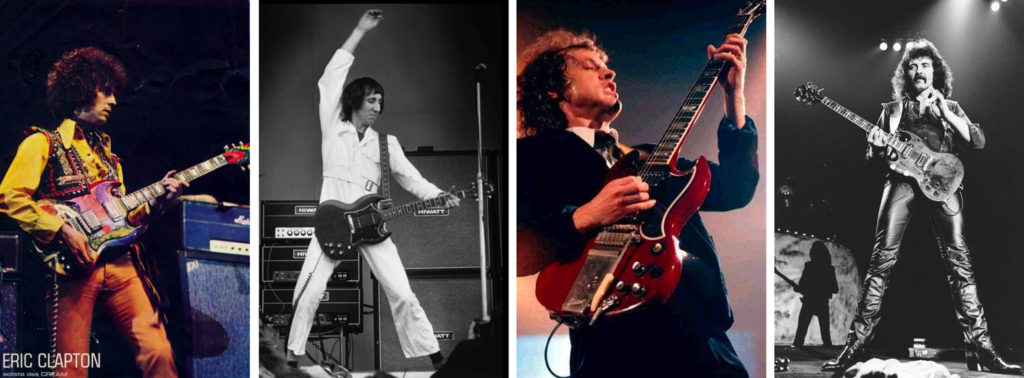 Eric Clapton, Angus Young, Tommy Iommi jouant une Gibson SG