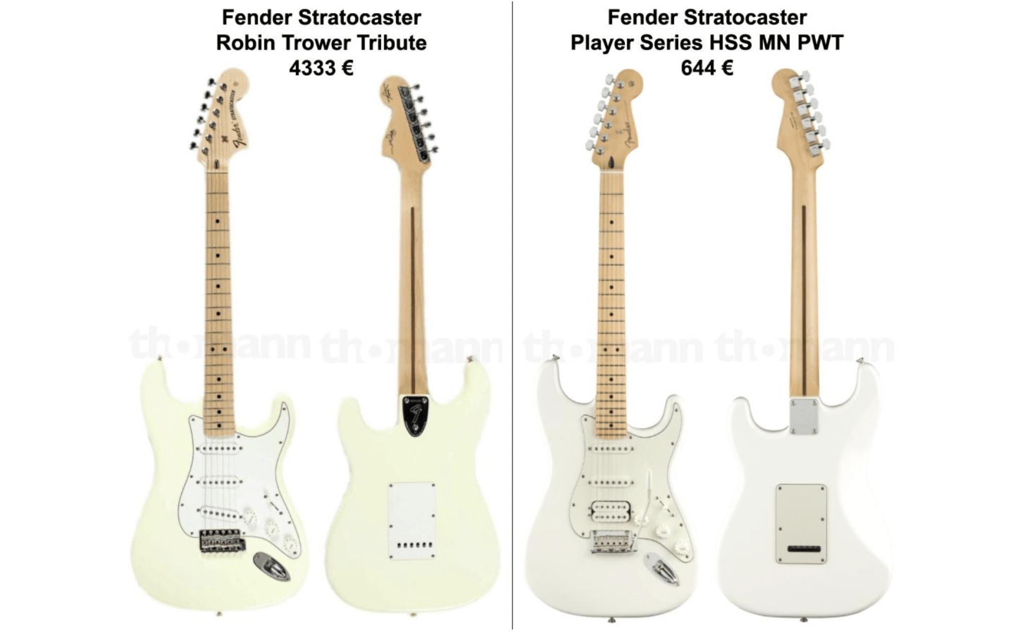 Fender Stratocaster - comparaison des modèles